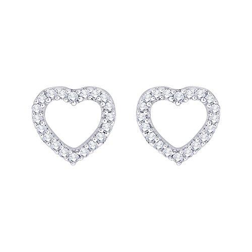 Earrings Circle Diamond Heart Gold (Diamond Heart Stud Earrings in 14K Rose Gold (1/3 cttw) (GH-Color, I2/I3 Clarity))