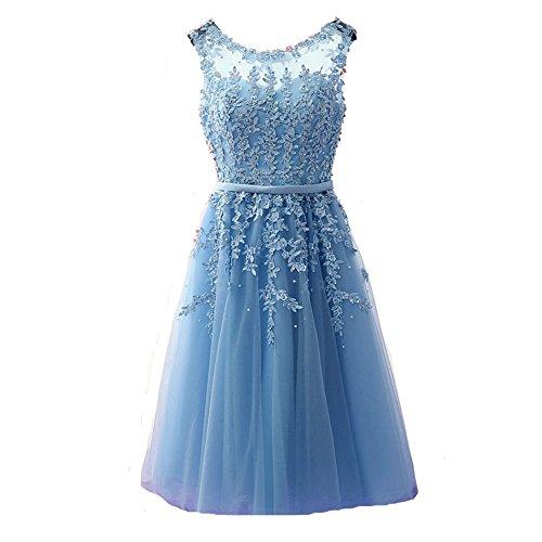 Kivary Sheer Bateau Tea Length Short Lace Prom Homecoming Dresses Plus Size Sky Blue US 24W