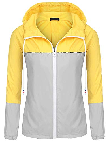 (ZEGOLO Women's Raincoats Waterproof Packable Colorblock Windbreaker Lightweight Active Outdoor Hooded Rain Jacket S-XXL)