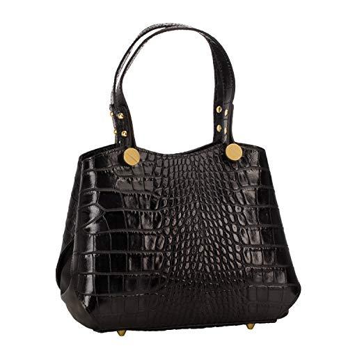 Stauer Women's Italian Carina Black Leather Handbag