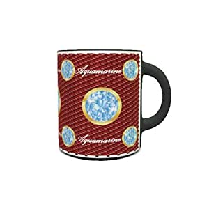 Color Changing Heat Sensitive Coffee Mug with Birthstone Aquamarine Design