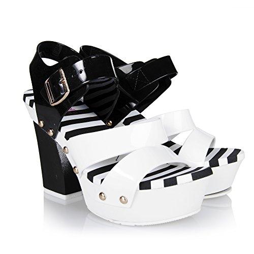 Chemistry® MACY-2 Womens Sandal Open Toe High Heels Jelly Shoes Sandal High Platform Wedge Pump Sandals (7 B(M) US, - Macy Open
