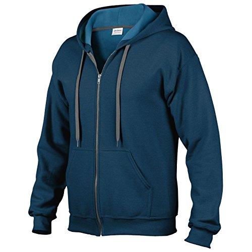 Gildan GD59, 50/50 policotone, blend® Vintage-Felpa unisex con cerniera e cappuccio, taglia S, colore: blu notte
