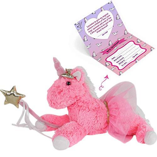 Unicorn Stuffed Animal- Fluffy Unicorn Toys for Girls Age 3 4 5 6 7 8 9, Pink Plush Stuffed Animal, 13 Inches Kids Toy w Golden Magic Wand, Cute Golden Bow, Pink Tutu & Unicorn Birthday Certificate