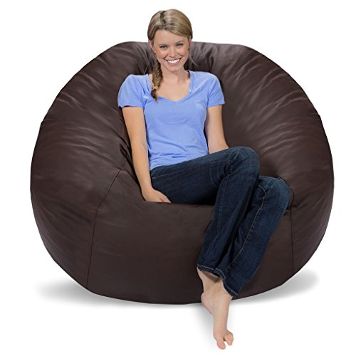 Comfy Sacks 5 ft Memory Foam Bean Bag Chair, Brown Faux Leather (Faux Chairs Bag Bean Leather)