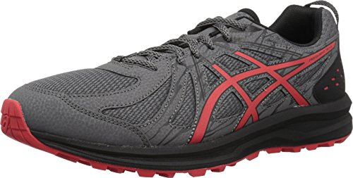 ASICS 1011A034 Men's Frequent Trail Running Shoe, Carbon/Red Alert - 12 D(M) US
