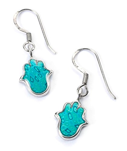 925 Sterling Silver Hamsa Dangle Earrings Handmade Polymer Clay Charm Jewellery