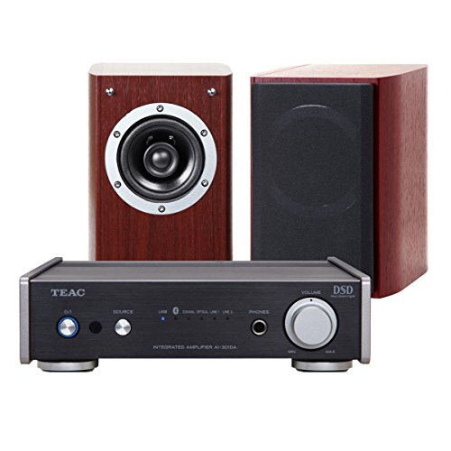 TEAC AI-301DA Integrated Amplifier and LS-301 Speaker Package (Black/Cherry)