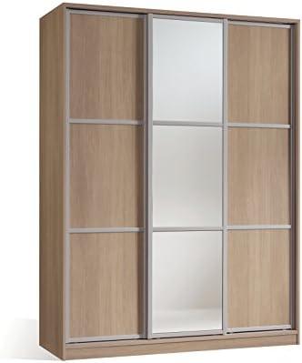 Armario ropero para Dormitorio o habitacion en Color Cambrian y Puerta de Espejo, con 3 Puertas correderas, Barra para Colgar y estantes Regulables 150x200x55: Amazon.es: Hogar