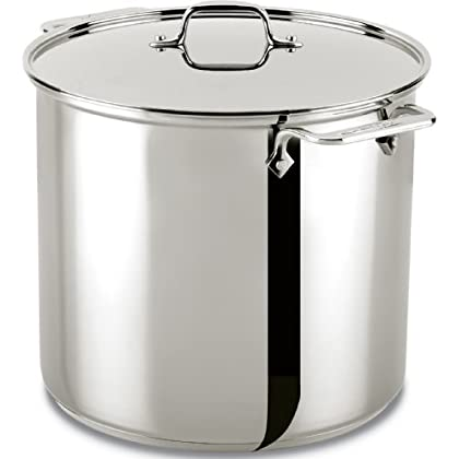 Image of All-Clad 59916 Stainless Steel Dishwasher Safe Stockpot Cookware, 16-Quart, Silver Home and Kitchen