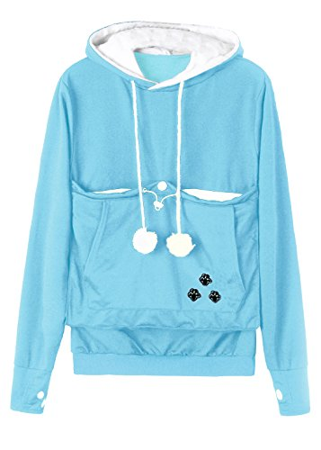 (Anbech Women Big Kangaroo Pouch Hoodie Long Sleeve Pet Cat Dog Holder Carrier Sweatshirt S-4XL (Light Blue, XL))