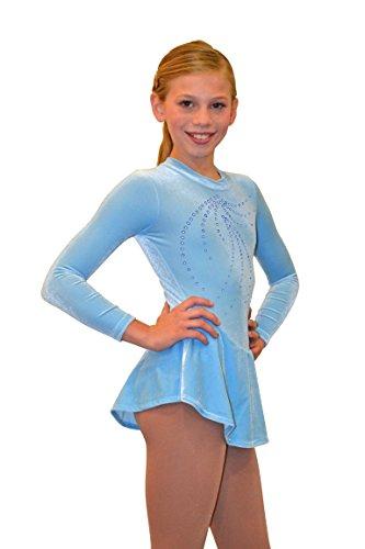 Chloe Noel Figure Skating Mock Neck Long Sleeve Velvet Dress with Crystals DLV08 Light Blue Adult Small