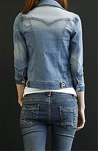 Vintage Allentato Cappotto Mode Manica Eleganti Fashion Autunno Slim Marca Jacket Lunga Corto Bavero Donna Fit Jeans Denim Outerwear Di Primaverile Giacche Blu rZzZxF