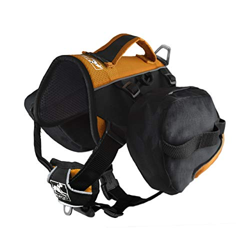 Kurgo Dog Saddlebag Backpack | Back Pack Dog Harness | Hiking Pack for Dogs | Packs for Pets to Wear | Camping & Travel Vest Harness | Reflective | Lightweight | Baxter Pack (Black/Orange)