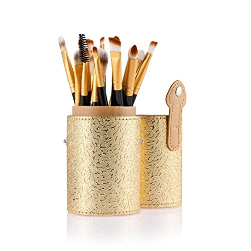 Euone Cosmetic Case Portable Storage Makeup Bags Organizer Brush Holder Cup (Gold)