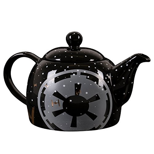 Star Wars Ceramic Teapot - Black with Pinache Empire Symbol and Tie Fighter Design - 24 oz -
