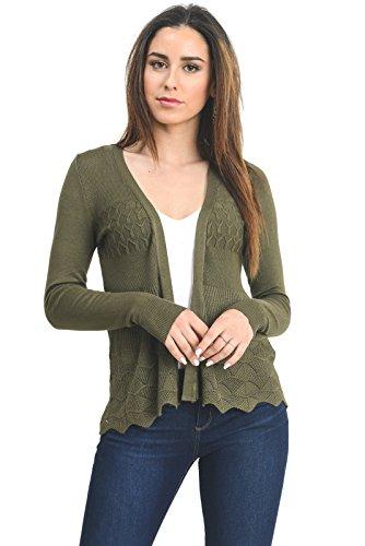 Instar Mode InstarMode Women's Long Sleeve Crochet Knit Sweater Draped Open Cardigan (C09115 Olive, Medium)