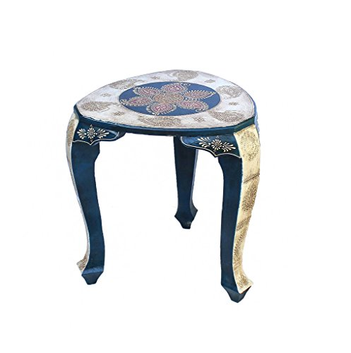 Crafticia Indian Royal Craft Rajasthan Pink City Jaipur Unique Traditional Wooden Handmade Handicraft Triangle Stool Decorative Gift Item Home Table D…