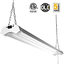 Linkable LED Utility Shop Light 4ft 4800 Lumens Super Bright 40W 5000K Daylight ETL Certified LED Garage Lights Fixture Durable LED Fixture with Pull Chain Mounting and Daisy Chain Hardware Included