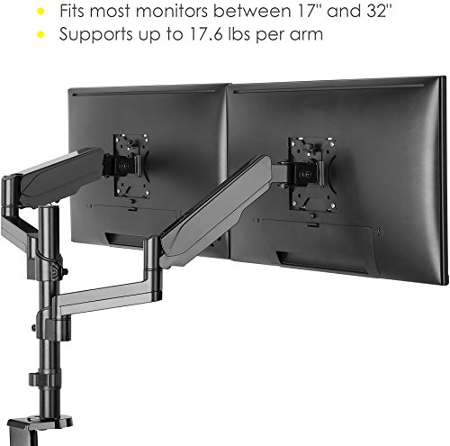 Mindful Design Dual Arm Monitor Mount - Heavy Duty Gas Spring Monitor Stand, Fits Screen Sizes 17'' to 32'' (Black) by Mindful Design (Image #2)