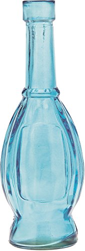 Luna Bazaar Small Vintage Glass Bottle (7-Inch, Bulb Design, Turquoise Blue) - Flower Bud Vase - For Home Decor, Party Decorations, and Wedding Centerpieces