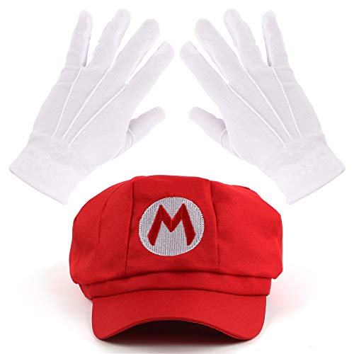 Mosqueda Red Hat Gloves Accessory Kit Halloween Cosplay Party Costume -
