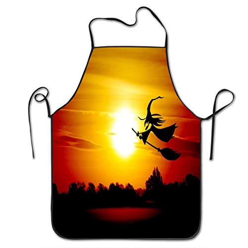(Cooking Apron,Funny BBQ or Kitchen Apron,Machine Washable,Premium Quality Bib Apron for Women and Men,Ideal for Kitchen,Parties,Garden,Camping & More - Halloween The Witch)