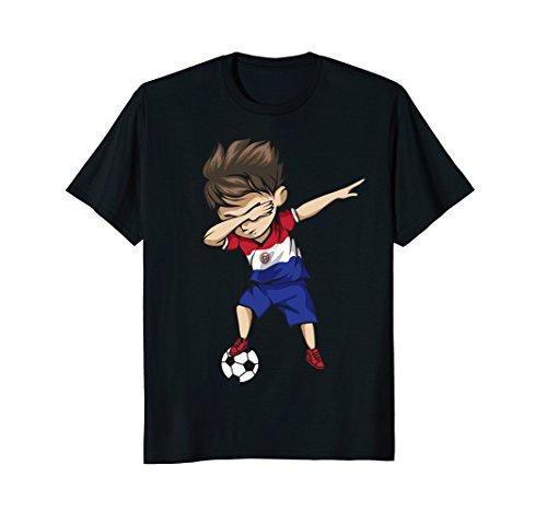 Dabbing Soccer Boy Paraguay Jersey Shirt - Paraguay Football - Paraguay Flag T-shirt