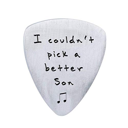 Gifts for Son from Mom Dad - I Couldn't Pick A Better Son Guitar Pick Jewelry, Personalized Musician Gifts, Birthday Graduation Gift Ideas from Parents