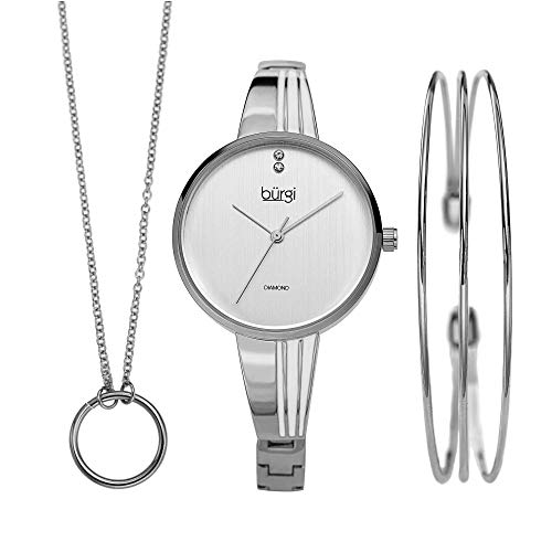 Burgi BUR211 Women's Jewelry Gift Set - Leather Strap Watch, Swarovski Crystal Leather Cord Choker Necklace and Metal Strands Bracelet - Flash Plated (BUR208SS) from Burgi