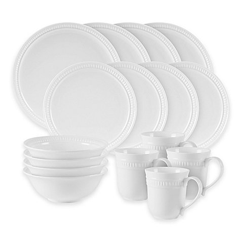 16-Pieces Pebble Dinnerware Set in White by Fitz and Floyd