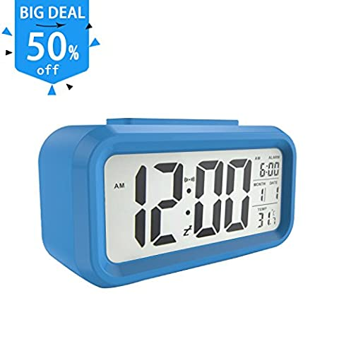 Gloue Digital Alarm Clock Battery Operated- Alarm Clocks Bedside- Temperature Display- Snooze and Large Display- Smart Night Light - Battery Operated Alarm Clock and Home Alarm Clock. - Fluorescent Step Light