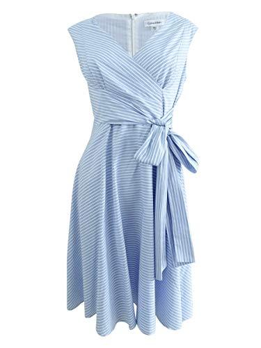 Calvin Klein Womens Petite Pinstriped A-Line Dress Blues
