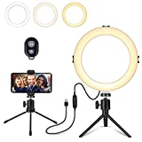 8' LED Ring Light with Tripod Stand for YouTube Video and Makeup,Mini LED Camera Light with Cell Phone Holder for Live Stream Photography,Desktop LED Lamp with 3 Light Modes & 11 Brightness