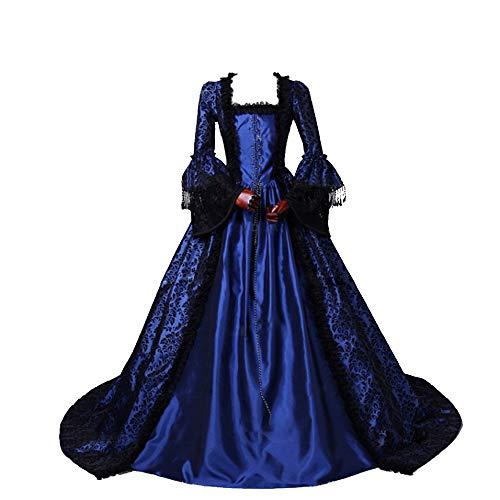 CountryWomen Renaissance Gothic Dark Queen Dress Ball Gown Steampunk Vampire Halloween Costume (XS, Blue one)