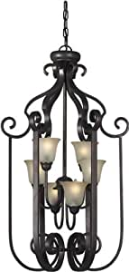 Forte Lighting 2446-06-32 Traditional 6-Light Foyer Pendant with Shaded Umber Glass, Antique Bronze Finish