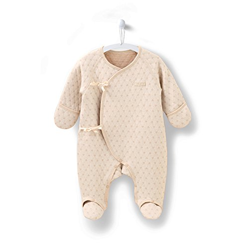 COBROO 100% Cotton Baby Footies Romper with Love Heart Pattern Autumn Winter Infant Baby Girl Boy Clothes 0-3 Months Brown ()
