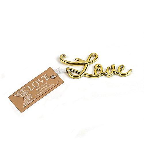 Love Antique Shaped Beer Bottle Opener Bridal & Baby Shower Wedding Favor (Gold, 20)