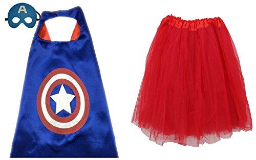 So Sydney Superhero TUTU, CAPE & MASK Adult Teen Plus Complete Halloween Costume (XL (Plus Size), Captain (Captain Cold Halloween Costume)