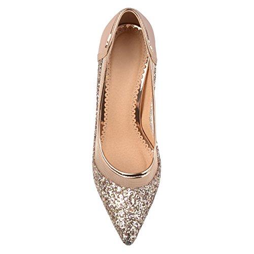 Brinley Co. Womens Kori Faux Suede Mesh Glitter Almond Toe Heels Rose Gold, 7 Regular US by Brinley Co (Image #4)