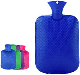 RSHDAI Wärmflasche Mit Superweichem Luxusbezug   3 Liter Große Heißwasser-Tasche   Hitze Oder Kälte Therapie   Zufällige Farbabdeckung