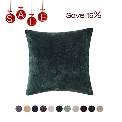 - Loom & Mill Christmas Decor Chenille Velvet Soft Solid Throw Pillow Cover Warm Cushion Cover Case for Sofa Bedroom Study with Zipper Hidden - (20 X 20 Inch, Deep Green)