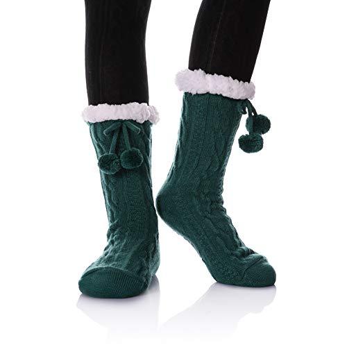 (YEBING Women's Diamond Cable Knit Super Soft Warm Cozy Fuzzy Fleece-lined Winter Slipper Socks (Twist Pattern - Green))