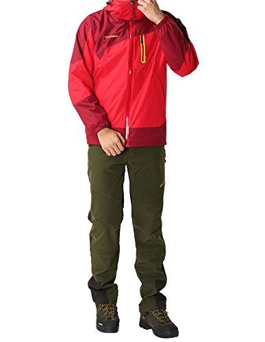 秋冬用ソフトシェルボアライナーつきアウトドアウェアクライマーパンツ登山ズボンカラーブロック(M,アーミーグリーン紳士)