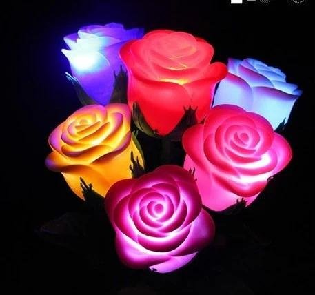 Famixyal 10 Pcs Simulation Rose Bouquet Fancy Colorful LED Lights Rose Flower with Foliage Romantic Xmas Wedding Decoration Party Lamp Candle Lights LED Night Light for Lovers and Kids