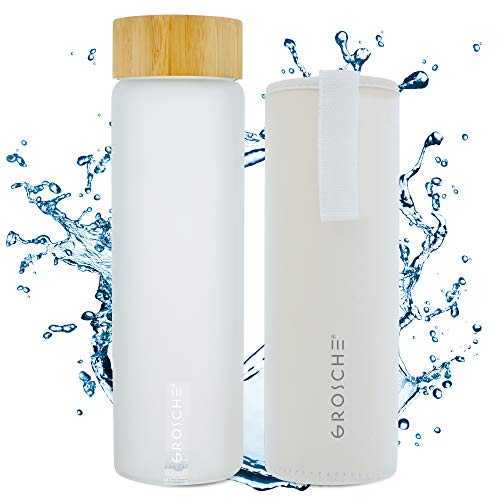 GROSCHE Venice Glass Water Bottle 670 ml, 22.6 fl. oz with White frosted finish, bamboo lid, Borosilicate Glass and neoprene sleeve. Heatproof reusable borosilicate glass water - Neoprene Bottle