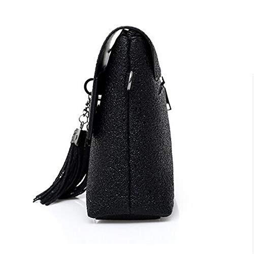 LANGUANGLIN Sangle Tendance Mode Dames Sequin Exquis Sauvage Personnalité Unique Épaule Sac Sac Noir zwqznrxER