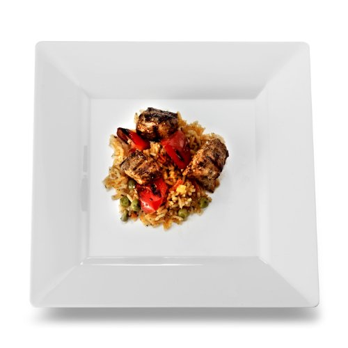 EMI Yoshi EMI-SP9W Square Plastic Dinner Plate, 9.5-Inch, White, 120 Per Case