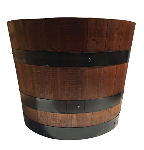 Wooden Barrel Planter With Hidden Casters. Waterproof. (Honey Pecan) - Classic Pecan Finish
