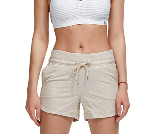 Estate Pantaloncini Spiaggia Cachi Outdoor Pantaloncini Fitness Yoga Sportivi Esercizio Elastico Respiranti Donna Yujeet 5qAcgZ